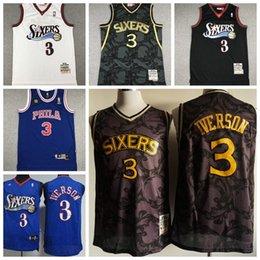 NBAPhiladelphia76ers3 AllenIverson retro black and white blue jersey