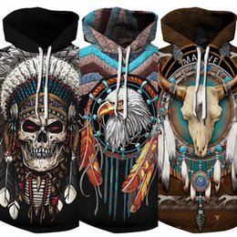 indian clothing sizes NZ - 2020 hot-selling Indian wolf 3d hooded Baseball suit Pullover pulloversweater plus size pullover long sleeve couple Baseball clothing fashio