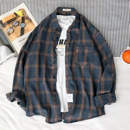 high collar shirts for men UK - Japan Style Brand Dress LOOSE Shirt For Men Long Sleeve High Quality 2020 Spring Autumn Cotton and Linen GREEN BLACK WHITe
