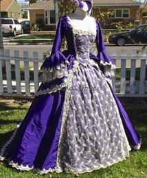 prom dresses corsets sleeves NZ - Medieval Purple Prom Dresses With Puff Sleeves Lace Long Evening Dress Ball Gown Costumes Masquerade Corset Square Formal Party Dress 2020