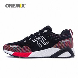 sneaker insoles UK - ONEMIX men running shoes colorful knitted red sneakers memory damping soft outsole dispel moisture deodorant insole running AGEQ#