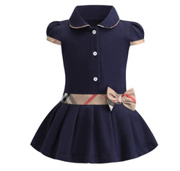 Wholesale Baby girls dress kids lapel college wind bowknot short sleeve pleated polo shirt skirt children casual designer clothing kids clothes