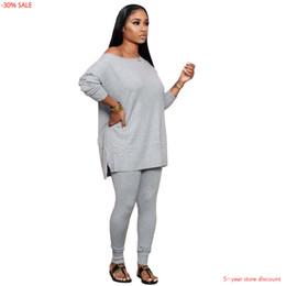 Wholesale jogger outfits womens for sale – designer Long Sleeve T Shirt Tee Tops Long Pants Jogger Set Piece Sets Womens Outfits Women Three Quarter Lantern Sleeve O Neck Loose