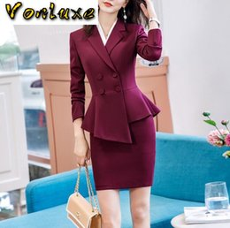 Wholesale dress office skirt for sale - Group buy Skirt Suits Office Ladies Wear Work Formal Business Elegant Bouble Breasted Blazer Mini Dress Women Sets Outfits Plus Size