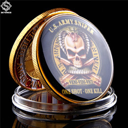 military challenge coins Canada - American Souvenir Gift Original US Army Sniper One Shoot One Kill Gold Plated Free Eagle Military Challenge Coin