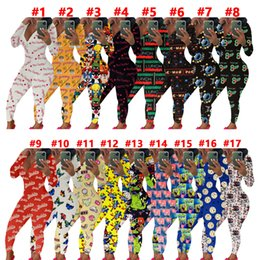 Wholesale women jumpsuits for sale – dress Women Jumpsuit Sexy Slim Casual Letters Cartoons Pattern Printed V neck Long Sleeve Trousers Ladies Home Pajamas Onesies Rompers