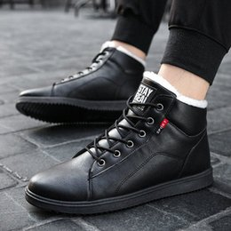 warms boots NZ - winter shoes men fashion fur lined shoelaces boots men all black cotton-padded shoes anti slip leather vamper easy matching warm yHG1#