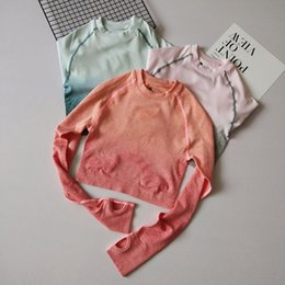 Wholesale cropped shirts resale online - Autumn New Yoga Shirts Fitted Long Sleeve Sport T Shirt with Thumb Holes Seamless Fitness Crop Top Quick Dry Workout Tops