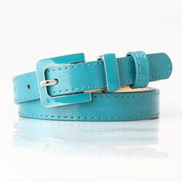 blue thin women belts Australia - Designer PU Leather Belt for Women Black Blue Green 2.0cm Narrow Thin Leather Candy Color Pin Buckle Waist Belts Female