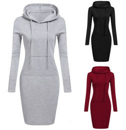 Wholesale long tunic tops women for sale – plus size 3 Colour S XL Women Knee Length Casual Hood Pencil Hoodie Long Sleeve Sweater Pocket Bodycon Tunic Dress Top