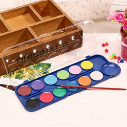 painting nylon plastic UK - DHL Washable Watercolor Set 12 Classic Colors With 1 Brush Non-toxic Assorted Colors Watercolor Set for Children Adults