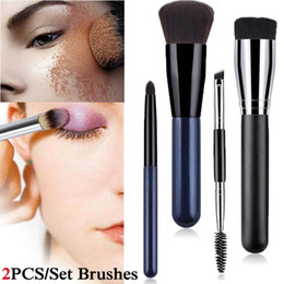 loose brush makeup NZ - 2Pcs Nylon Brush Flat Foundation Brush Make-up Brushes Cosmetic Face Powder For Makeup Beauty Tool Loose Powder Blush