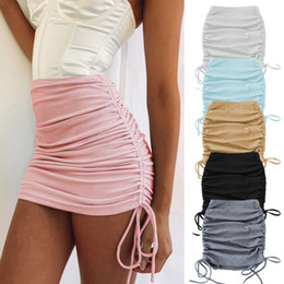 Wholesale skirt womens resale online - 2020 Spring And Autumn Womens Knitted Threaded Side Drawstring Elastic Wrinkle Skirt Sexy Slim Adjustable Hip Skirt