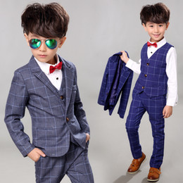 boys formal jackets Australia - Flower Boys Formal Suit Kids Wedding Party Dress Plaid Blazer Vest Pants Shirt Tie Child Tuxedo Prom Performance Costumes