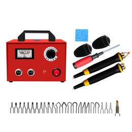 Wholesale 100W Pyrography Pen Burning Machine Wood Burner Gourd Crafts Tool Set add 24pcs Welding Wire Tip 2 Handle Adjustable Temperature