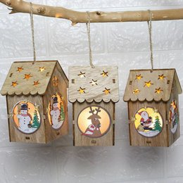 wholesale doll houses NZ - LED Light Wooden Dolls House Villa Christmas Ornaments Xmas Tree Hanging Decor Christmas Decorations for Home xmas