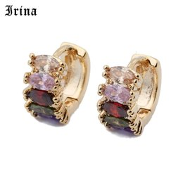Discount hollow hoops earrings Irina New Fashion Cubic Zirconia Hollow Classic Design Earring for Women Gold-color Earing Wedding Jewelry