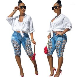 Wholesale womens jean shorts resale online - Women Clothes Womens Jeans Fashion Leopard Pattern Hole Panelled Short Jeans Casual Losse High Waisted Jeans