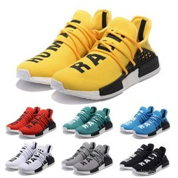 human race sneakers blue UK - TN D1314 36-47 NMD Human Race trail Running Shoes Pharrell Williams HU Runner Red Yellow Black White Green Grey blue sports trainers sneaker