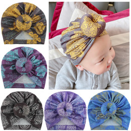Explosive baby print donut cotton hat cute soft ball Indian hat children print knotted headband hat baby headgear trend headwear