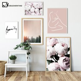 peonies picture UK - Pink Peony Flower Family Picture Scandinavian Poster Nordic Forest Sunset Print Wall Art Canvas Painting Modern Room Decoration