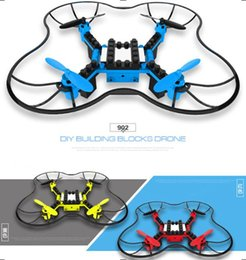 Wholesale 2.4G DIY Building Blocks Drone 6 Axis Gyro Assembled Remote Control Aircraft Quadcopter WIFI Drone Aerial Boy Gift No Camera