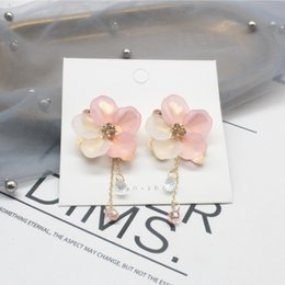 hand woven earrings Australia - 2020 hot selling fashion jewelry sweet romantic Korean hand woven flower earrings long tassel crystal earrings for women gift