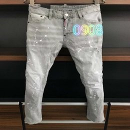 urban jeans UK - Fall new style D2020 jeans men's slim-fit washing micro-elastic fashion urban casual trend high-end jeans men A355