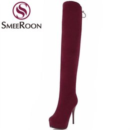 look shoes 2021 - Smeeroon hot sale thigh high boots round toe sexy look slimmer thin heels winter boots grind arenaceous women shoes ladi