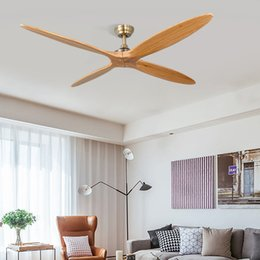 dc motor remote control Australia - Creative Indoor ceiling fan DC Motor Ceiling Fan with Remote Control 56 Inch Brushed Chrome with Solid Wood Teak Colored Blades