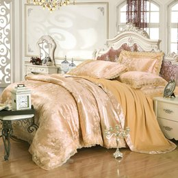 lilac satin queen bedding set NZ - Luxury Lace Embroidery Satin Bedding Sets 4pcs Jacquard Silk duvet cover bed sheet linen pillowcases Cotton Queen King size Home Textile