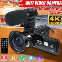Profissional 4K WiFi HD Camcorder Vídeo Câmera Night Vision 3 polegadas LCD Touch Screen 16x câmera de zoom digital com lente de microfone em Promoção
