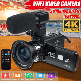 Professionelle 4K Wifi HD-Camcorder-Videokamera Nachtsicht 3-Zoll-LCD-Touchscreen 16x Digitalzoom-Kamera mit Mikrofonobjektiv im Angebot