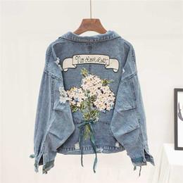Wholesale big denim jacket resale online – Fashion Embroidery Holes Denim Jacket Women Student Outerwear Harajuku Big size Loose Long sleeve Short Jeans Jacket Coat Female