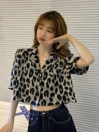 shirt korean designs Australia - SALTD Summer 2020 new Korean Style Hong shirt style short-sleeved Kong design sense suit leopard print shirt short women's summer