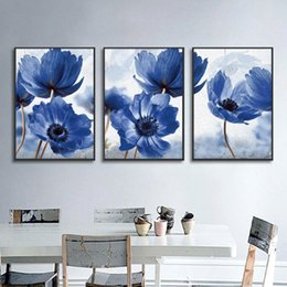 simple flower painting art UK - Nordic Simple Blue Flowers Decorative Paintings Canvas Posters And Prints Wall Art Picture For Living Room Home Decoration Beati