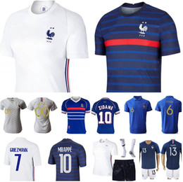 venda por atacado Homens Mulheres Crianças França Jersey Soccer Le Sommer Henry Kylian Mbappe Antoine Griezmann Paul Pogba Giroud Zidane Kante Lloris Kits de Futebol