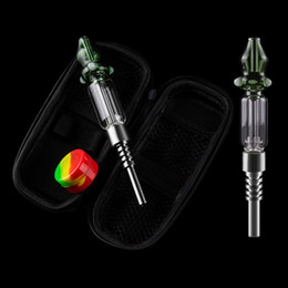 bubblers rig UK - dabpipes168 NC024 NEW Smooth Airflow 510 Bullet Titanium Nail Glass Hand Pipes Oil Rig Dabber Smoking Hand Pipes Bubblers With Bag Kit