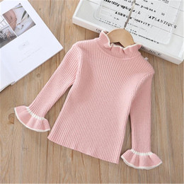 2020 Autumn Winter Girls Pullover Sweater Kids Turtleneck Knitted Baby Toddler Children Clothes Sweaters Long Flare Sleeve Tops