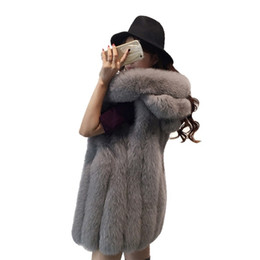 Wholesale black hooded fur vest for sale - Group buy High Quality Women Winter Jacket Fashion Faux Fur Coats Solid Hooded Fur Vest XL Sleeveless Warm Coats for Women