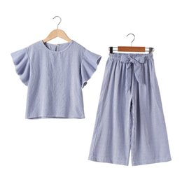 simple t shirts for girls Australia - summer ruffle chinese style cotton striped 2pc sets simple teenage girls school outfits age for 4-14 yrs big girls t-shirt+pants Y200831