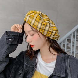 fresh net NZ - 2020 New Summer Autumn Thin Breathable Check Small Fresh Hat Korean Version Fashion Beret Women's Net Red Leisure Hat