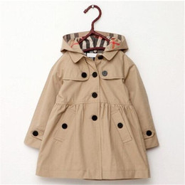 Wholesale 2020 autumn New listing Childrens Clothing Girl Autumn Princess Coat Solid Color Medium-long Single Breasted Trench Baby Outerwear