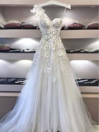 3d dress NZ - One-shoulder Lace Wedding Dresses A-Line with 3D Flowers vestido novia Crystals Beaded Bride Dress Wedding Gowns