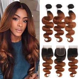 A Ombre Brazilian Virgin Hair Bundles With Closures Body Wave Human Hair Bundles With Lace Closure Hair Extensions