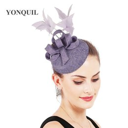 headpiece feathers UK - Light purple hair fascinator hat women wedding headwear bridal show hair accessories party race headpiece with fancy feathers
