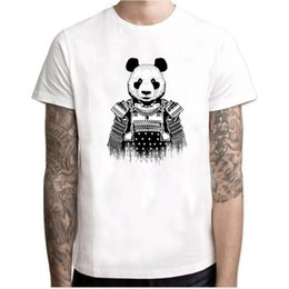 panda tee UK - New Fashion Panda Samurai Printed Men T-Shirt Short Sleeve Hipster Tops Summer Cool Panda Soldier Design Tees