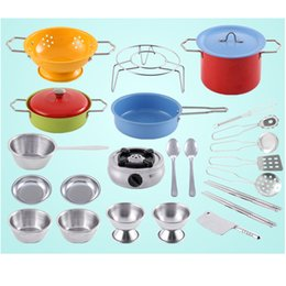 toys cooking UK - 25PCS Colorful Kids Pretend Play Real Cooking Stainless Steel Cookware Stove Utensils Kitchen Creative Toy Set Role Playing