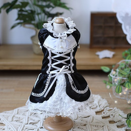aprons dresses NZ - Free shipping handmade dog clothes dog dress classic white black Lolita style apron dress maid outfit cosplay pet clothes cat drop shipping