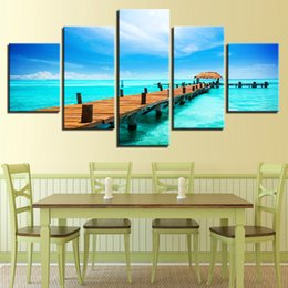 abstract art paintings for kids NZ - Canvas painting poster wall art frame 5 panels wooden bridge modular landscape picture for kids room decoration